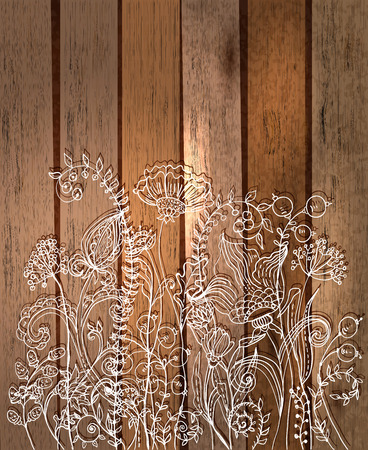 Romantic flower background, natural doodle illustration over wood background Vector