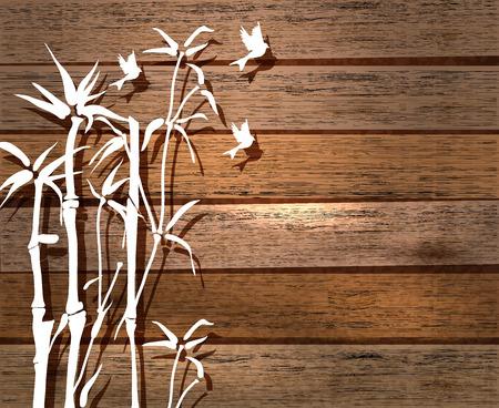 White Bamboo and birds over wood background, illustration