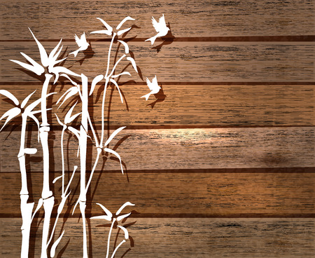 White Bamboo and birds over wood background, illustration Vector