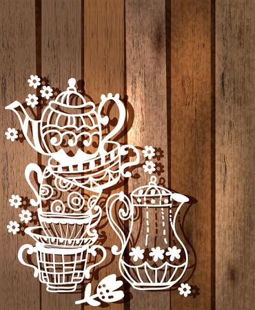 tazza di te: Sfondo Tazza di tè con la teiera e vaso, illustrazione per il disegno su legno
