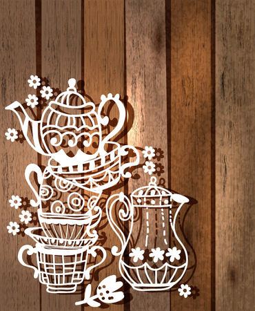 Tea cup background with teapot and jar, illustration for design over wood