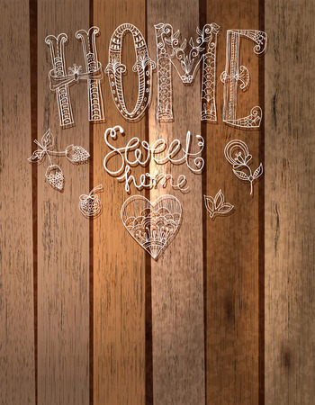 caption: Beautiful text Home sweet home illustration with flowers, hand lettering with wooden background