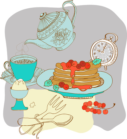 Vintage color morning tea background for beautiful design, Healthy food Vector