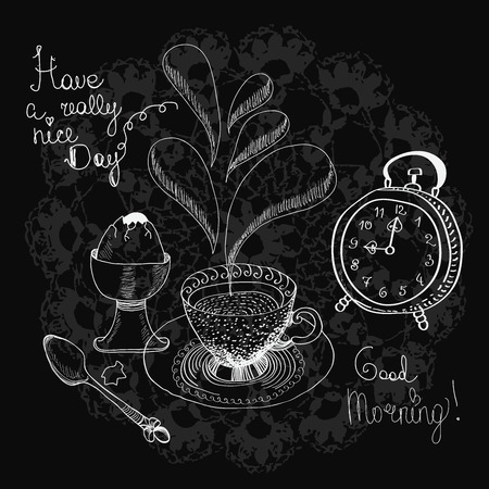 Vintage chalk morning tea background over blackboard with text Ilustracja