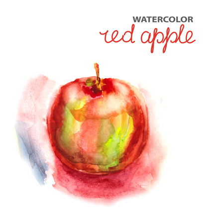 Background with watercolor red apple Vector