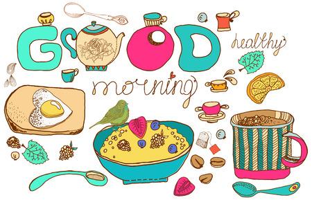 Vintage color morning tea background for beautiful design, Healthy food Vector
