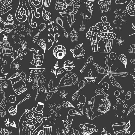 Seamless tea time background, doodle illustration with teapot and floral elements, fish and octopus drinking tea Vector