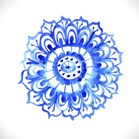 Watercolor flower.Round lace pattern, circle blue background over white Vector