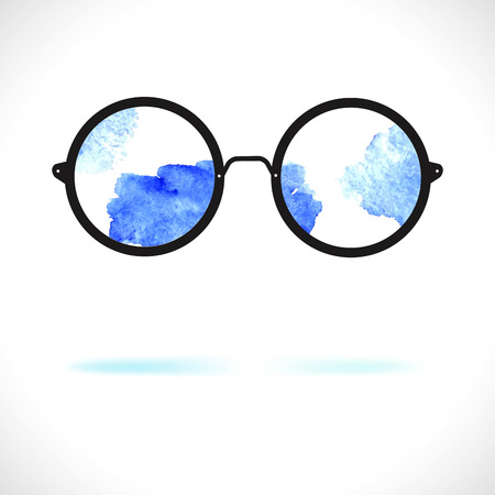 girlie: Sun glasses with reflection of clouds over white Illustration
