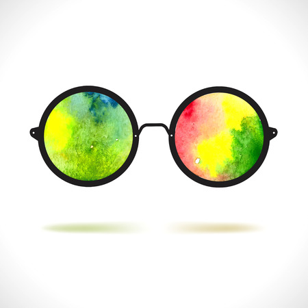 eyewear fashion: Sun glasses with reflection of colorful watercolor spots over white Illustration