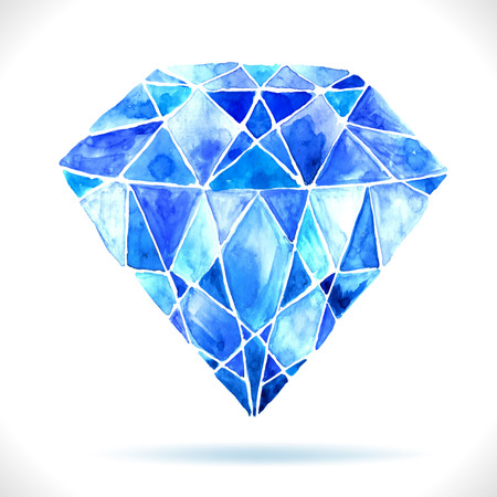 Watercolor beautiful blue diamond with shadow, illustration for design  Vector