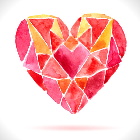 Bright color mosaic watercolor heart for holiday design Vector