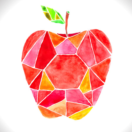 Watercolor beautiful mosaic red apple over white Vector
