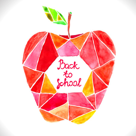 Watercolor beautiful mosaic red apple over white with text - back to school Vector