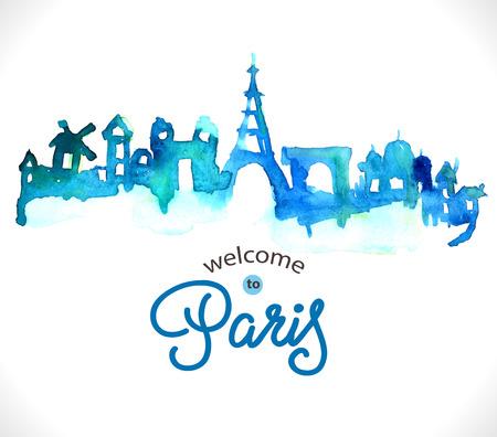 パリのスカイライン水彩背景にテキスト  イラスト・ベクター素材