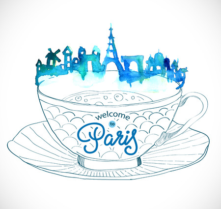 paris skyline: Paris skyline watercolor background with text on the cup of tea
