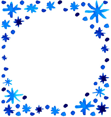Watercolor beautiful blue snowflakes circle shape background Vector