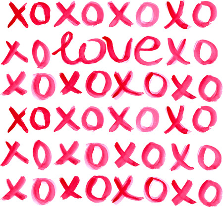 xoxo: Valentine Day Heart and watercolor lettering LOVE xoxo in red over light background Illustration