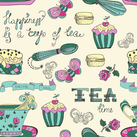 Color tea time pattern with flowers Vector