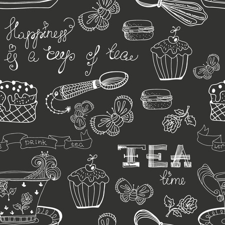 Black and white tea time pattern with flowers Vector