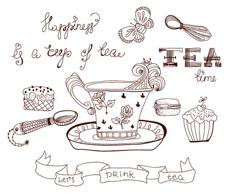 Tea time doodle background with flowers and sweets over white