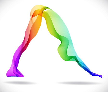 Pose de yoga, ilustración abstracta del color sobre el fondo blanco Foto de archivo - 28793736
