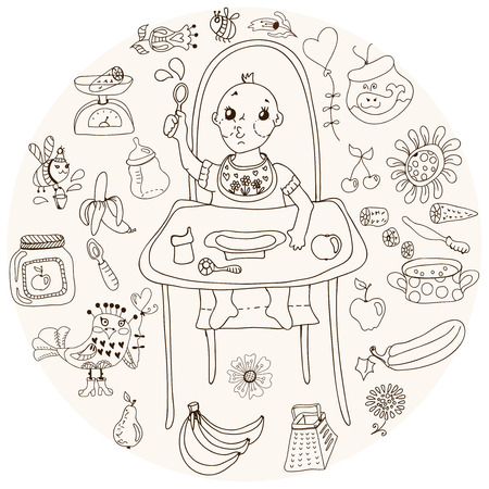 puree: Baby feeding, doodle illustration with flowers