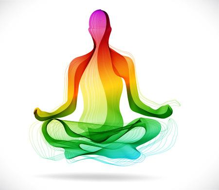 Yoga-Pose, Abstrakt Farbe-Abbildung auf weißem Hintergrund, Lotus-Pose Standard-Bild - 28792984