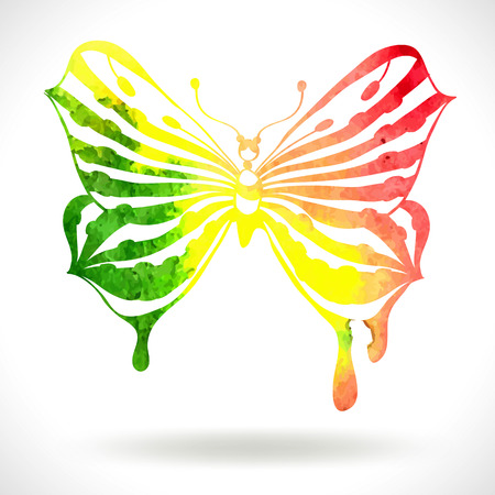 butterflies flying: Colorful background with watercolor butterfly illustration