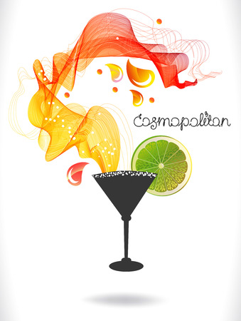 cosmopolitan: Abstract colorful cocktail with fruit over white