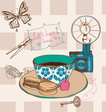 Vintage tea time background Illustration