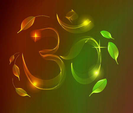 sanskrit: Abstract colorful OM sign over dark background with leaves