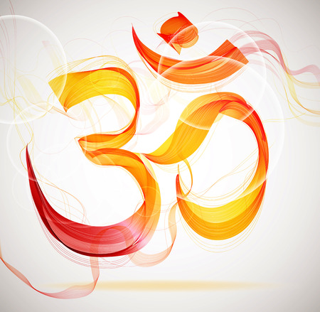 Abstract colorful OM sign with waves Vector