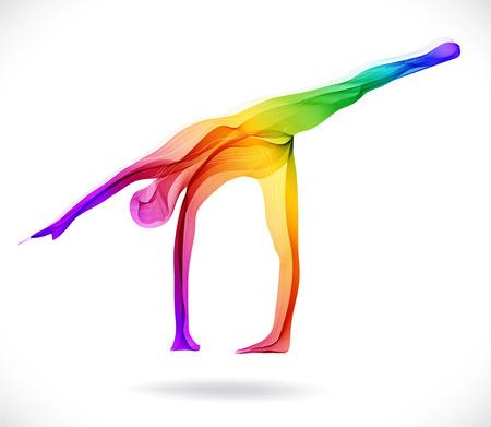 Pose de yoga, ilustración abstracta del color sobre el fondo blanco Foto de archivo - 29043480