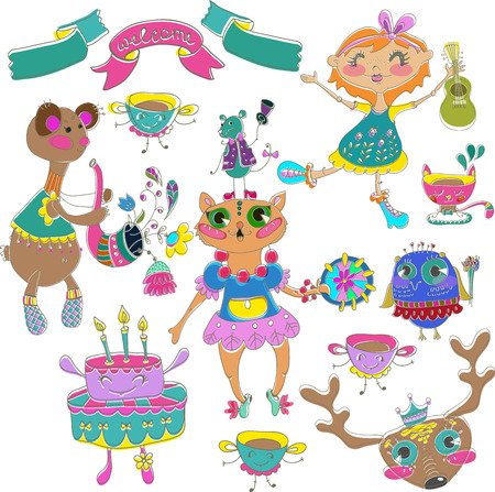 Cartoon color party with little girl and animals, cake and flowers Vector