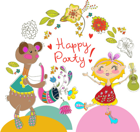 Cartoon color party with bear and girl, floral ornament Vector