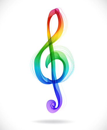 Color abstract treble clef over white