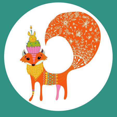 Cartoon color fox over white, beautiful illustration Vector