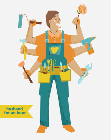 retro cartoon Handyman with different tools and belt, super husband, cartoon lovely man with flower Ilustração