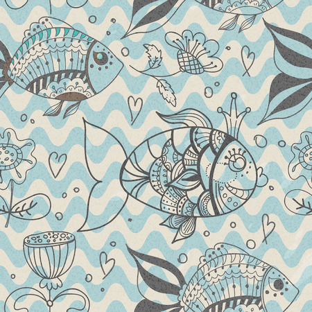 Seamless background with fish, doodle natural pattern Vector