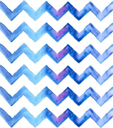 쉐브론 수채화 파란색 배경입니다. 손 셰브론 배경을 그렸습니다. 지그재그 배경입니다.