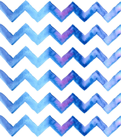 Chevron watercolor blue Background. Hand Painted Chevron Background. Zigzag background. Illustration
