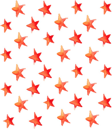Seamless watercolor stars pattern over white