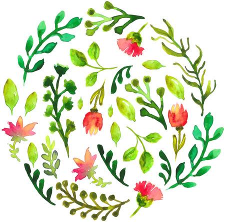 Natuurlijke bloemen cirkel achtergrond met groene bladeren en rode bloemen. Gevectoriseerd waterverftekening. Stock Illustratie