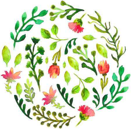 Natural floral circle background with green leaves and red flowers. Vectorized watercolor drawing. Illustration