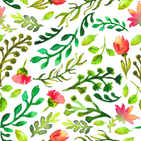 Watercolor seamless pattern with green leaf and red flowers, eco natural illustration Vector