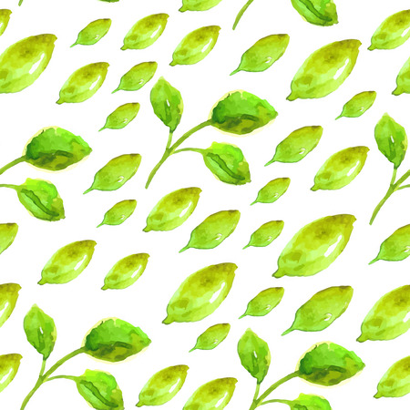 Watercolor seamless pattern with green leaf, eco natural illustration Vector