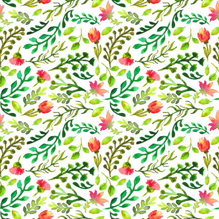 Watercolor seamless pattern with green leaf and red flowers, eco natural illustration illustration