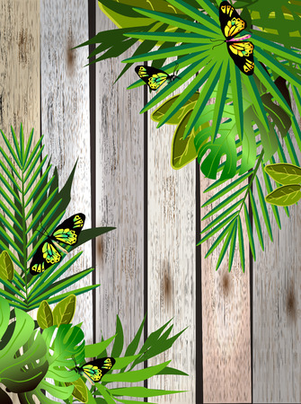 exotic plant: Tropical flowers and leaves over wood. Floral design background. Bright color vibrant illustration