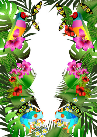 Tropical flowers and leaves and beautiful bird, frog and butterfly. Floral design background. Bright color vibrant illustration Illustration